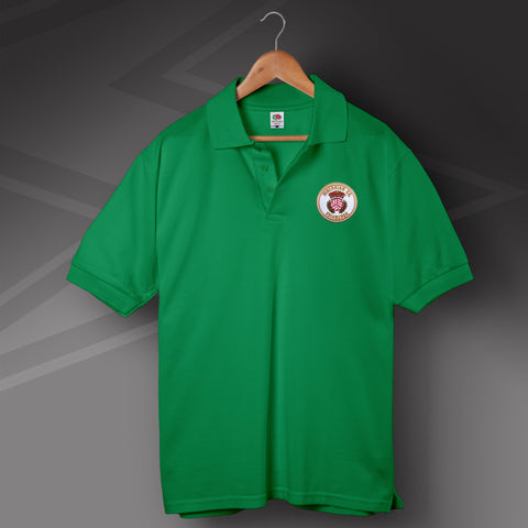 Retro Hibs 1980s Polo Shirt with Embroidered Badge