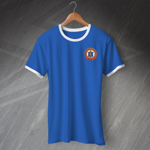 Retro Rangers Football Ringer Shirt with Embroidered Badge