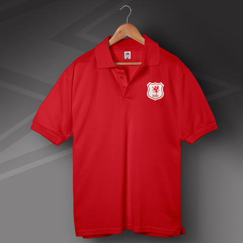 Retro Wales Polo Shirt with Embroidered Badge