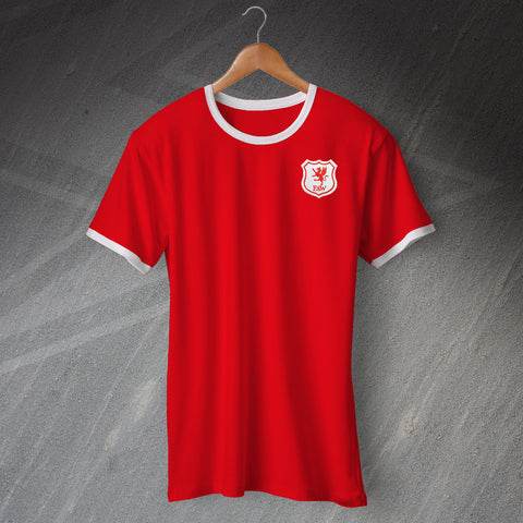Retro Wales Football Shirt with Embroidered Badge