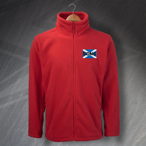 Aberdeen Football Fleece Embroidered Dons Grunge Flag of Scotland