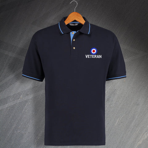 RAF Polo Shirt Embroidered Contrast Roundel Veteran