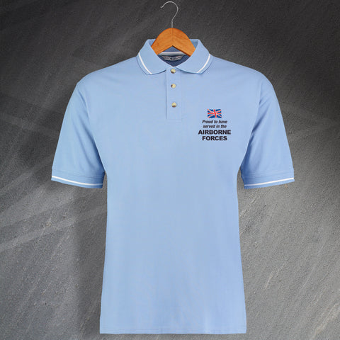 Airborne Forces Polo Shirt Embroidered Contrast Proud to Have Served