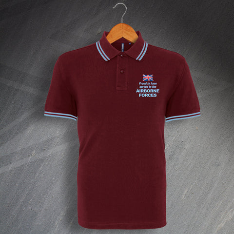 Airborne Forces Polo Shirt Embroidered Tipped Proud to Have Served