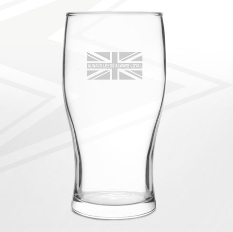 Leeds Football Pint Glass Engraved Always Leeds Always Loyal