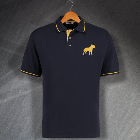 American Pit Bull Terrier Embroidered Contrast Polo Shirt