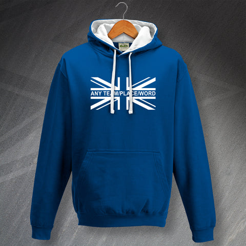 Personalised Union Jack Flag Contrast Hoodie with Any Team, Place or Word