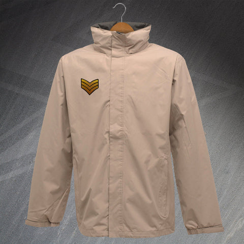 Army Waterproof Jacket with Embroidered Sergeant Badge