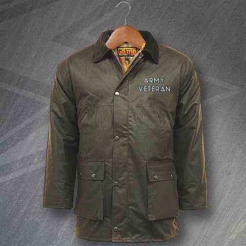 Army Wax Jacket Embroidered Padded Army Veteran