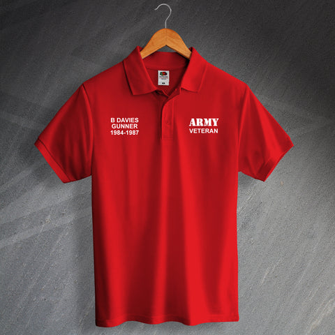 Army Veteran Printed Polo Shirt Personalised with Service Details