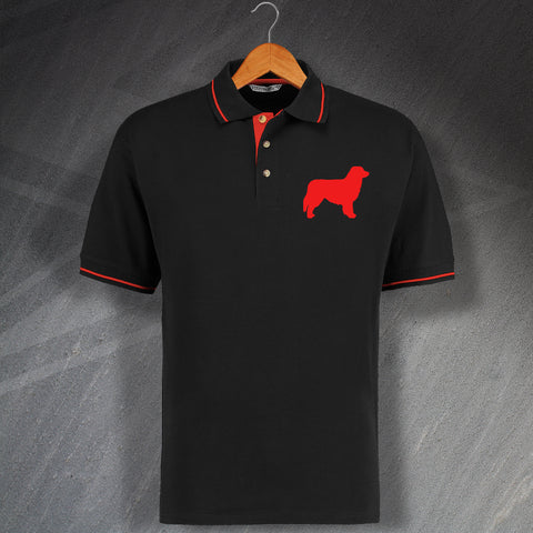 Australian Shepherd Embroidered Contrast Polo Shirt