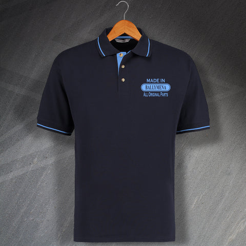 Made In Ballymena All Original Parts Unisex Embroidered Contrast Polo Shirt