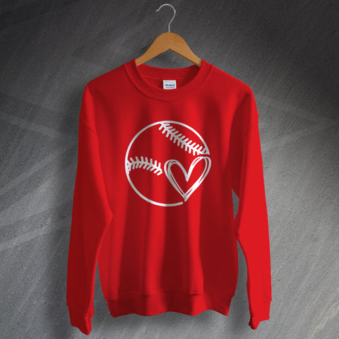 Baseball Sweatshirt Baseball Heart