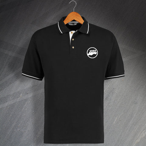 Bass Head Embroidered Contrast Polo Shirt