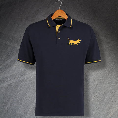 Basset Hound Embroidered Contrast Polo Shirt