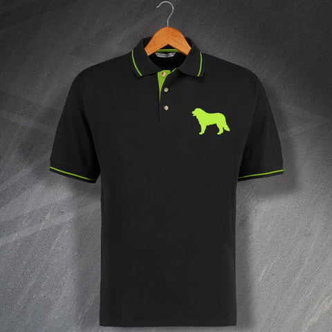 Bernese Mountain Dog Embroidered Contrast Polo Shirt