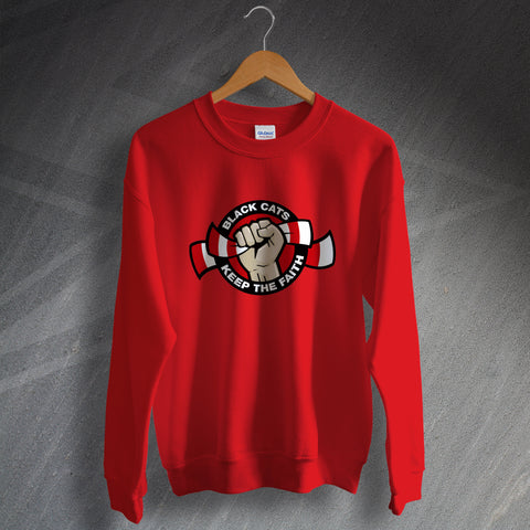 Sunderland Football Sweatshirt Black Cats Keep The Faith