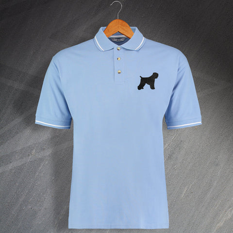 Black Russian Terrier Embroidered Contrast Polo Shirt