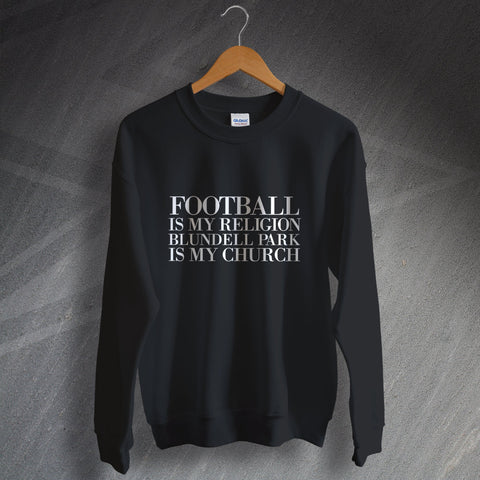 Grimsby Football Sweatshirt Football is My Religion Blundell Park is My Church