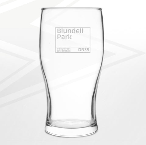 Grimsby Football Pint Glass Engraved Blundell Park