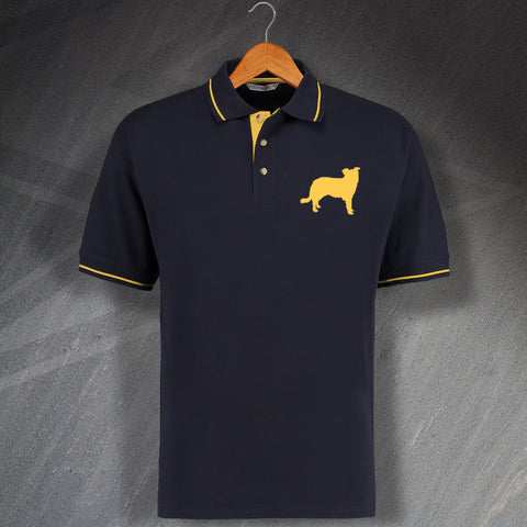 Border Collie Polo Shirt Embroidered Contrast