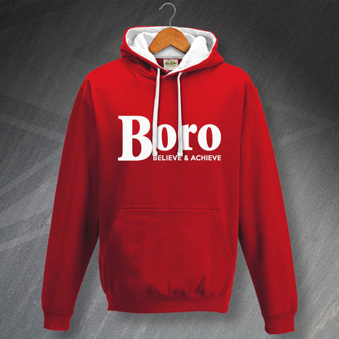 Stevenage Football Hoodie Contrast Boro Believe & Achieve