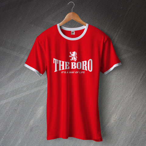 Middlesbrough Football Shirt Printed Ringer The Boro It's a Way of Life