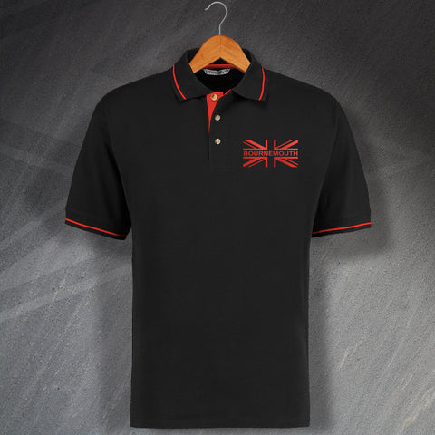 Bournemouth Football Polo Shirt Embroidered Contrast Union Jack