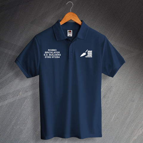Bricklayer Printed Polo Shirt Personalised with Name & Company Details
