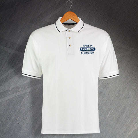 Brighton Polo Shirt Embroidered Contrast Made in Brighton All Original Parts