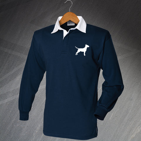 Bull Terrier Rugby Shirt Embroidered Long Sleeve