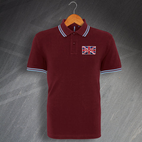 Burnley Football Polo Shirt Embroidered Tipped Union Jack