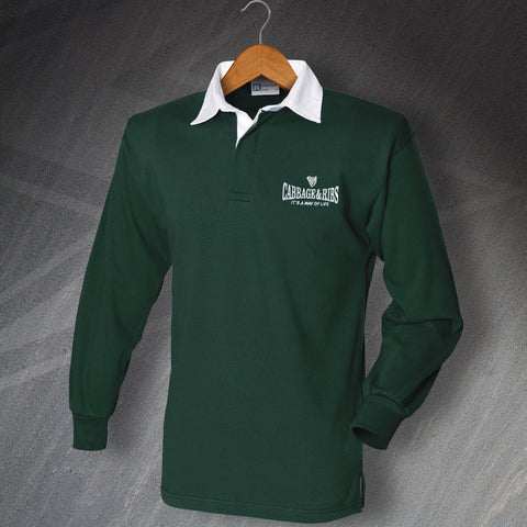 Hibs Football Shirt Embroidered Long Sleeve Cabbage & Ribs It's a Way of Life