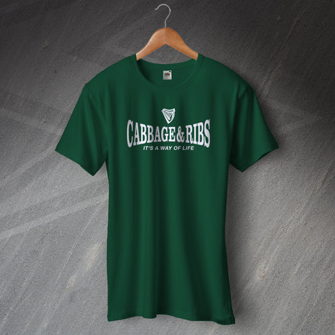 Hibs Football T-Shirt Cabbage & Ribs It's a Way of Life