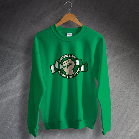 Hibs Football Sweatshirt Cabbage & Ribs Keep The Faith