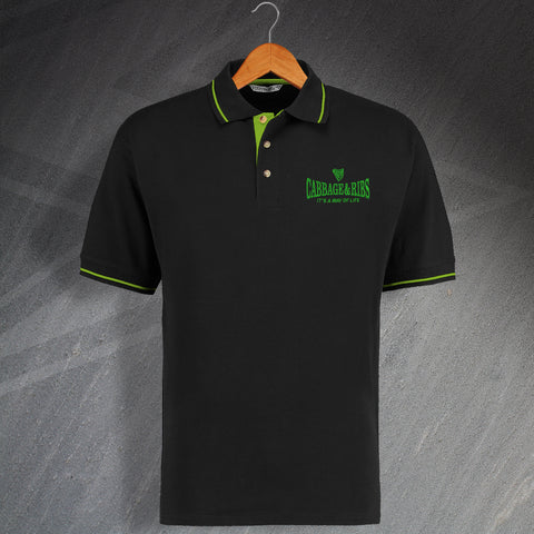 Cabbage & Ribs It's a Way of Life Embroidered Contrast Polo Shirt