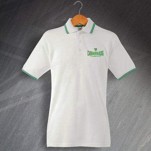 Hibs Football Polo Shirt Embroidered Tipped Cabbage & Ribs It's a Way of Life