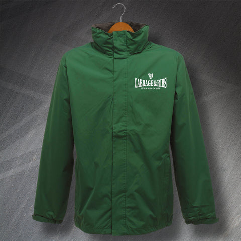 Hibs Football Jacket Embroidered Waterproof Cabbage & Ribs It's a Way of Life