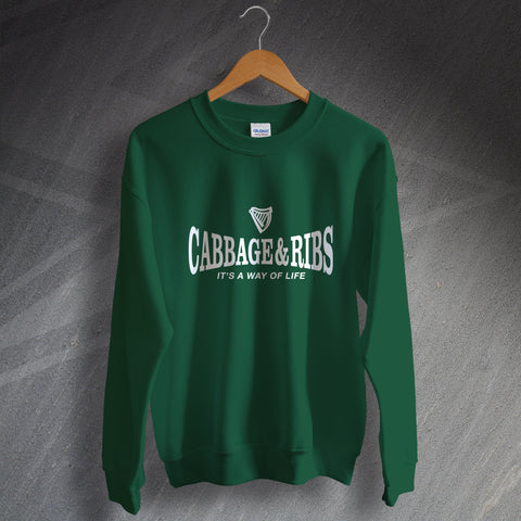 Hibs Football Sweatshirt Cabbage & Ribs It's a Way of Life