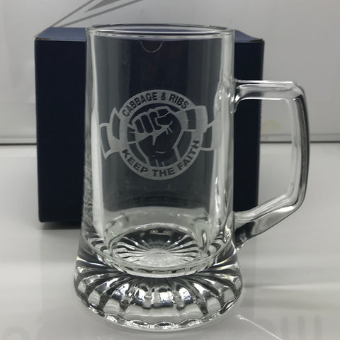 Hibs Football Glass Tankard Engraved Cabbage & Ribs Keep The Faith