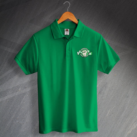 Hibs Football Polo Shirt Embroidered Cabbage & Ribs Keep The Faith