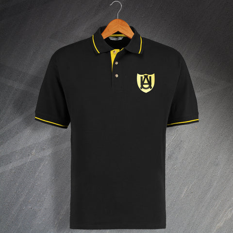 Retro Cambridge Embroidered Abbey United 1947 Contrast Polo Shirt