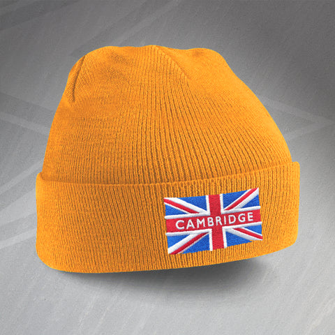 Cambridge Beanie Hat with Embroidered Union Jack Flag