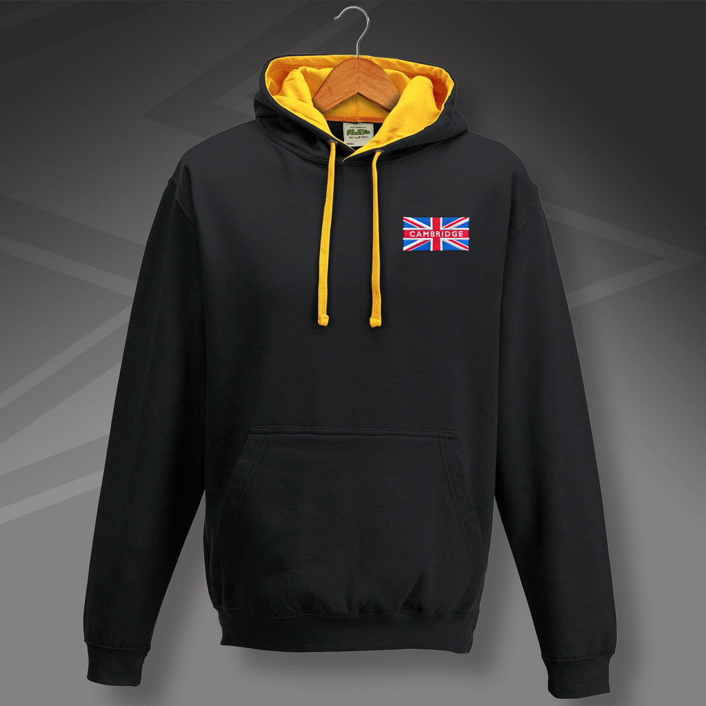 Cambridge Contrast Hoodie with Embroidered Union Jack Flag