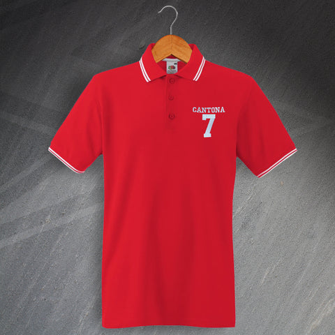 United Football Polo Shirt Embroidered Tipped Cantona 7