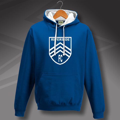Retro Cardiff Printed Contrast Hoodie with Riverside 1899 Design