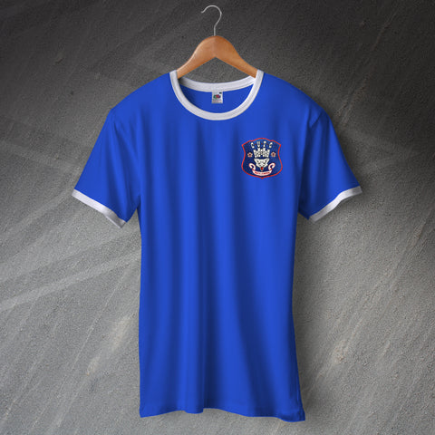 Retro Carlisle Football Ringer Shirt with Embroidered Badge