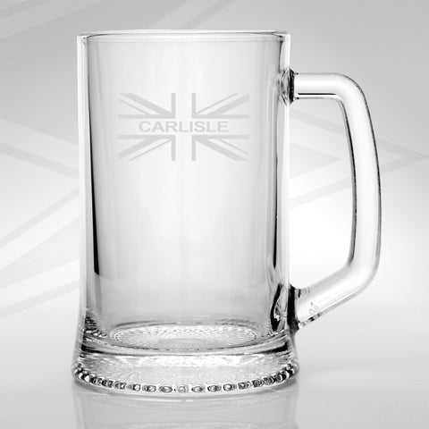 Carlisle Union Jack Flag Engraved Glass Tankard