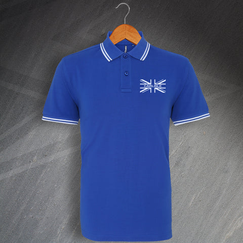 Carlisle Union Jack Flag Embroidered Tipped Polo Shirt