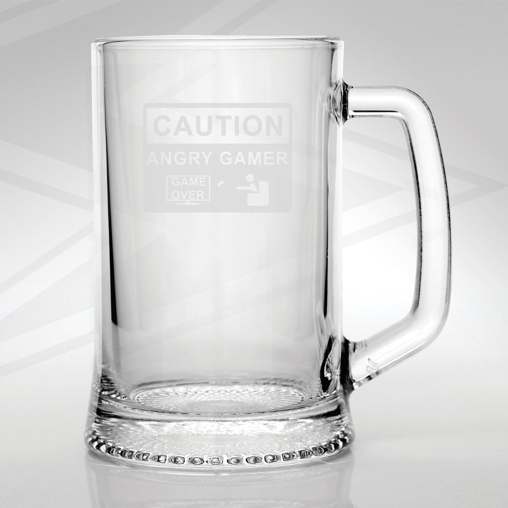 Caution Angry Gamer Glass Tankard